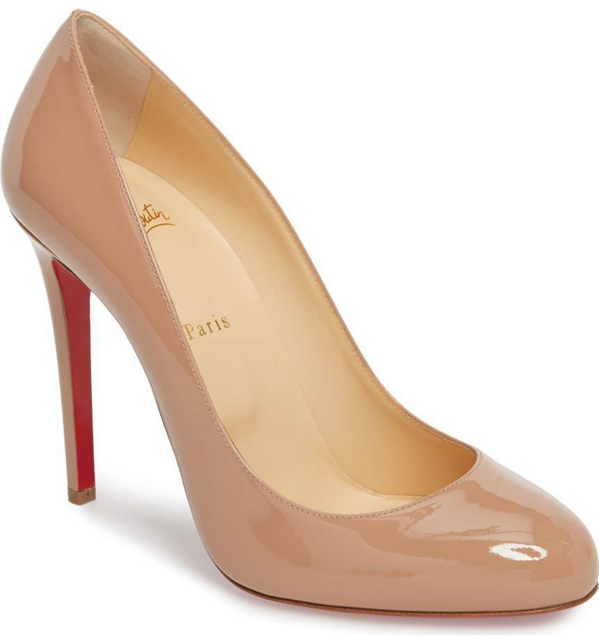 NEW  695+ Christian Louboutin Fifille Patent Nude Beige Pump Heel shoes 39- 8 US
