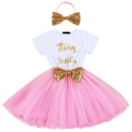 It/'s My 1st 2nd Birthday Baby Girl Sequin Bow Party Tutu Dress Headband Outfits