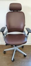 Steelcase Leap Office Chair V2 Adjustable Headrest Mahogany Leather Platinum