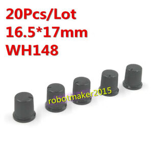 10 Pcs 6mm Shaft Hole Dia Plastic Threaded Knurled Potentiometer Knobs Caps、Fad