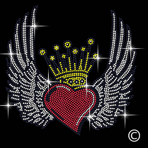 Heart With Wings And Crown Rhinestone Diamanté Transfer Hotfix iron on motif