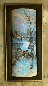UNIQUE PAINTING ON BIRCH LOG HANDCRAFTED ARTWORK FRAMED SIGNED BY ARTIST