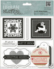 Papermania Craft Christmas rubber stamps Christmas wishes reindeer snow flake