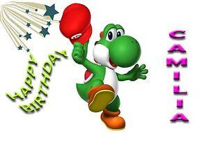 Personalised Yoshi Super Mario Birthday Greeting Card Any