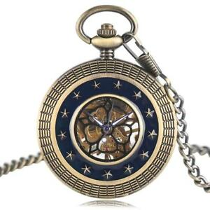 Men-039-s-Classic-Skeleton-Half-Hunter-Roman-Dial-Mechanical-Pocket-Watch-with-Chain