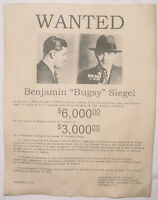 Bugsy Siegel Wanted Poster, Gangster, Outlaw, Bank Robber
