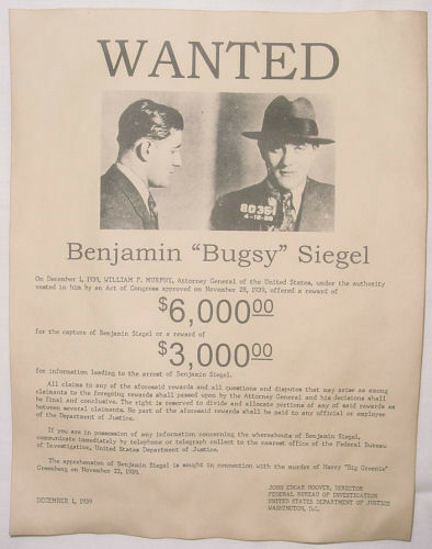 bugsy siegel wanted poster gangster outlaw bank robber ebay