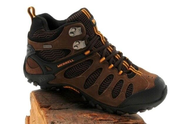 Merrell greenis Vent Mid Waterproof Brown Stone Hiking Trails Boots RARE DS
