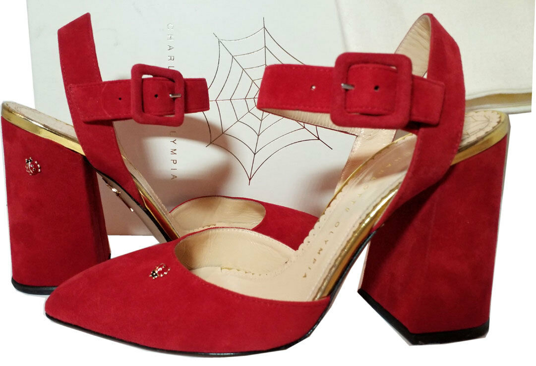 Charlotte Olympia Block Heel Pointed Toe Pumps Slingback rot Lady Bug schuhe 37.5