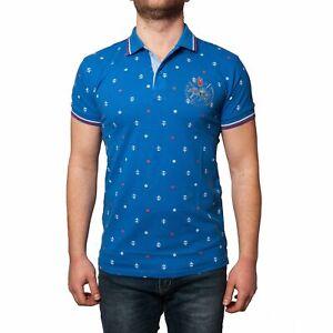 Polo-Uomo-Manica-Corta-Cotone-Maglia-Con-Ancore-Celeste-Blu-T-shirt-Slim-Fit