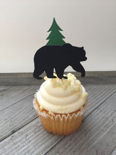 Lumberjack Camping Hunting Party 12 Bear And Tree Cupcake Toppers