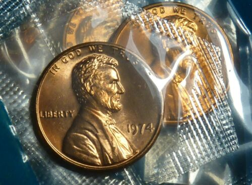 Penny in MINT CELLO uncirculated BU 1974 P Lincoln Memorial Cent