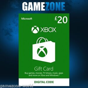 Xbox Live £20 GBP UK Gift Card Points Pounds For Microsoft Xbox ...