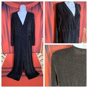 ASOS-Ladies-Silver-Black-Jumpsuit-Size-22-Sparkly-Stretchy-Wide-Leg-Lurex-Cruise