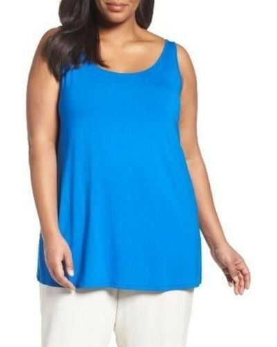 Eileen Fisher Scoop Neck Long Silk Jersey Tunic Top Catalina 3X NWT