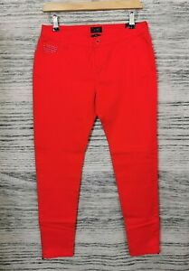 GORGIO-ARMANI-ROUGE-ROSSO-Iris-J50-Coupe-Skinny-Side-Zip-Jeans-Taille-27