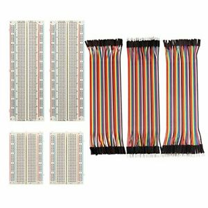 FTCBlock 4 Pieces Breadboards Kit with 120 Pieces Jumper Wires for Arduino Pr...