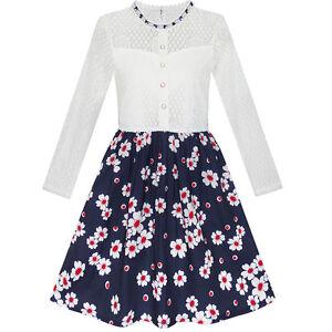Maedchen-Kleid-Schnueren-Perle-Pflaume-Bluete-Elegant-Prinzessin-kleiden