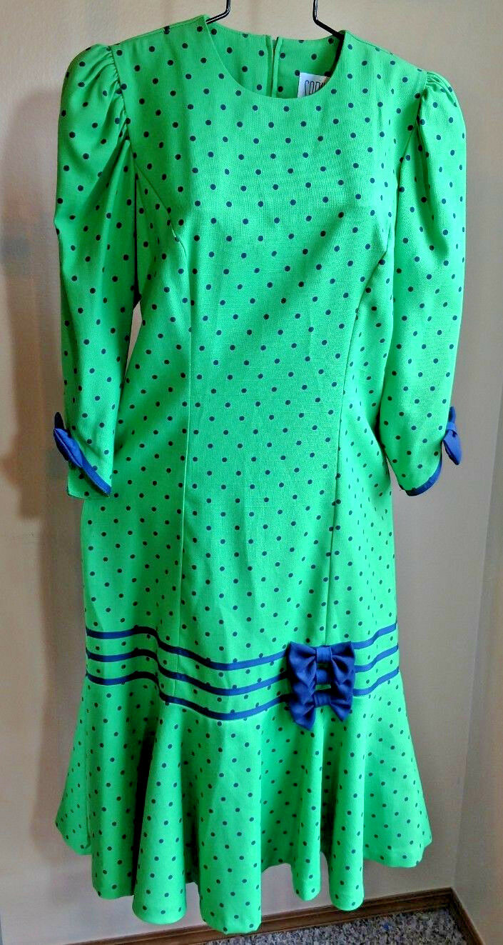 Vintage Sabino Sz 10 Grün Polka Dot Ruffle Bow Ribbon 80s Dress Poof Sleeves