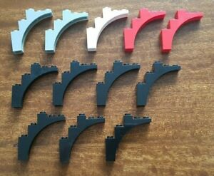12x-LEGO-2339-demi-arc-1x-5x-4-noir-blanc-et-vieux-original-gris