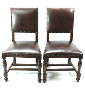Pair-of-Vintage-Oak-and-Leather-Chairs-FREE-Shipping-5348-A