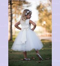 Ivory ROSE BUD on Skirt Flower girl Dress Small Medium 12-18 month 2 4 6 8 10 12