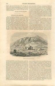 Ruines-de-l-039-Acropole-de-Cheronee-Beotie-Grece-GRAVURE-ANTIQUE-OLD-PRINT-1860