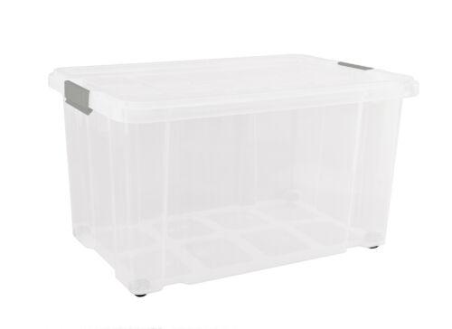 Aufbewahrungsbox groß mit Deckel Rollen Transparent Kunststoff Kiste Behälter XL