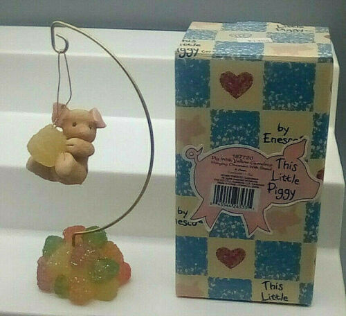 ENESCO This Little Piggy Pig With Gumdrop Hanging Ornament With Stand NIB BIN