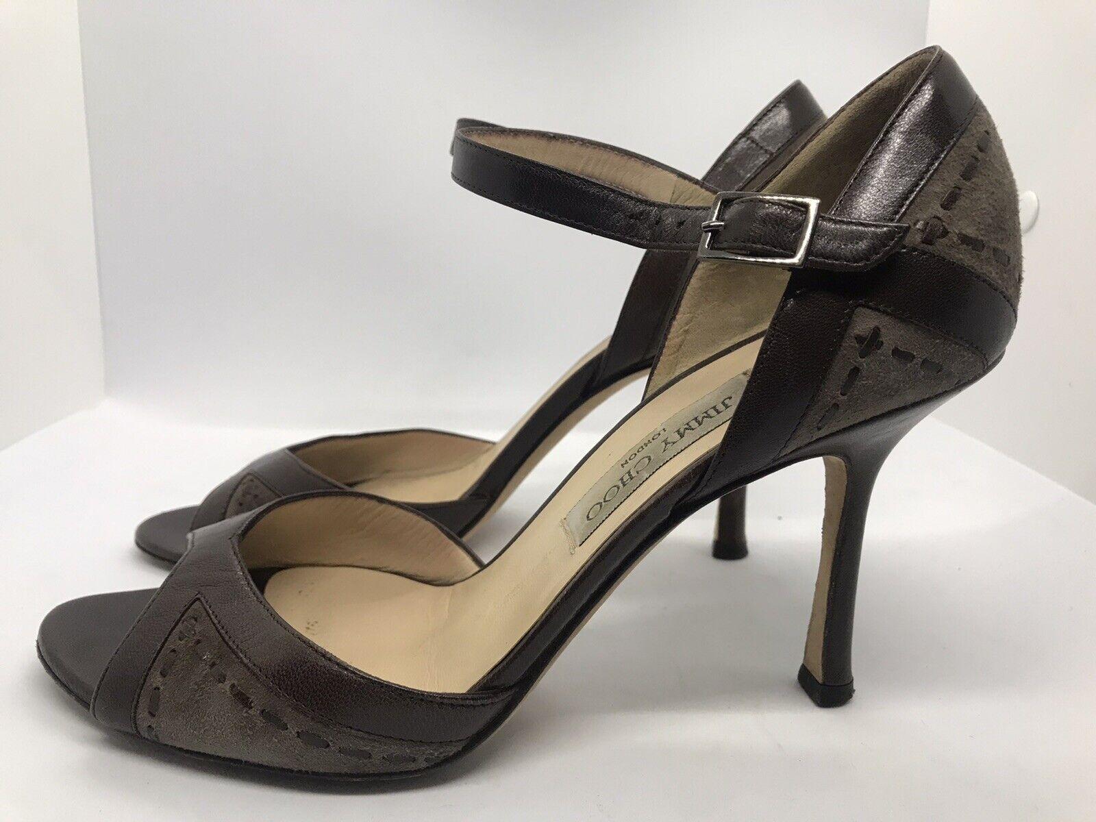 RARE EUC Jimmy Choo 39 US 9 braun Suede Leather damen HeelsPumps Ankle Strap C1