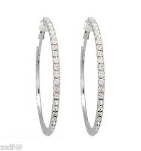 1-Pair-Silvertone-Clip-On-Rhinestone-Hoop-Earrings-35mm-Small-To-75mm-2XL