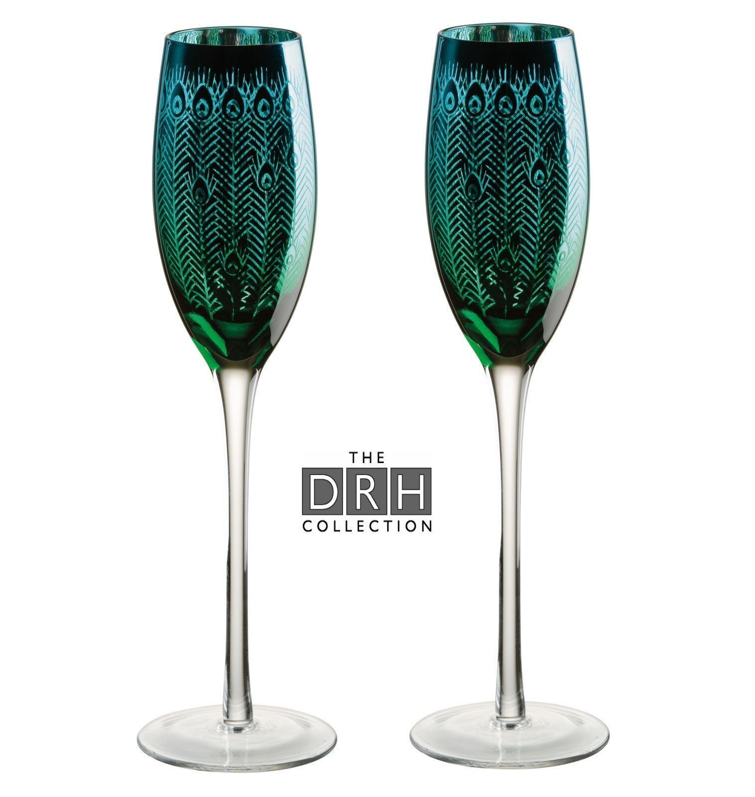 Drh Artland Cristal Pavo Real Copas de Champán Flauta Juego 2 - ART51184