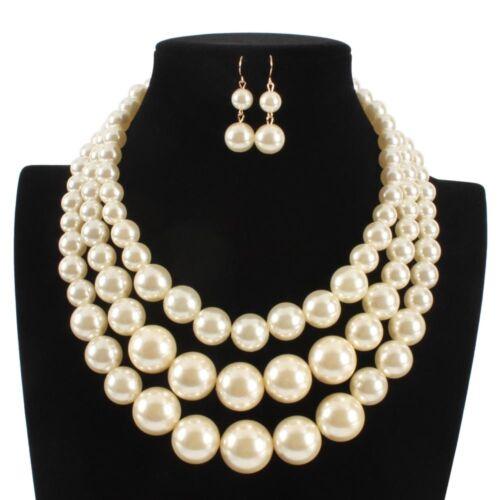 Mujeres Niña Oro Crema Perlas Colgante Cadena Gruesa con multicapa grande Collar Gargantilla