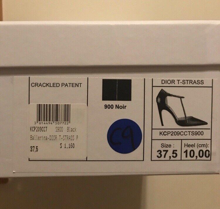 New sz 7.5 Christian Dior Dior Dior Black Pointed Toe Curve Heel Ankle Rhinestone shoes 1577c5