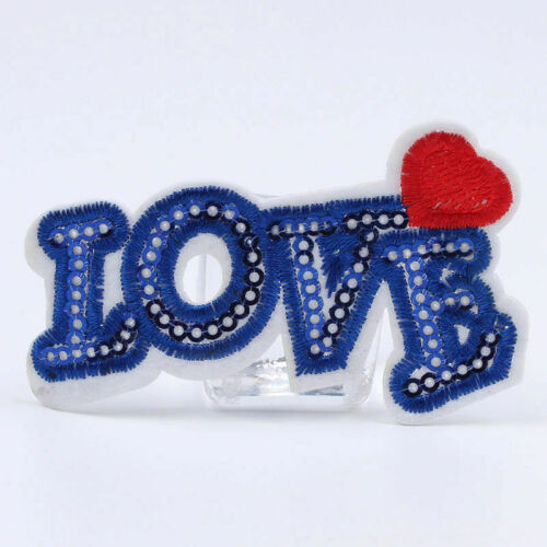 Love patch bleu sequin Iron sew on badge COEUR Sac Jeans Veste Manteau Denim UK