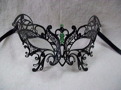 Black Metal Filigree Butterfly Mask Green Stones Renaissance Masquerade Moth Bat