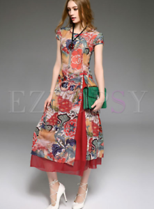 1a0a1de8db Image is loading NWT-Stylewe-Vintage-Print-2-pieces-Silk-Cheongsam-