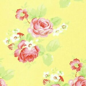 Cottage-Shabby-Chic-Tanya-Whelan-Lola-Roses-PWTW104-Yellow-Cotton-Fabric-BTY