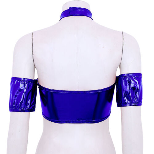 Women Leather Off Shoulder Bra Bustier Crop Top Tube Tank Vest Blouse T Shirt