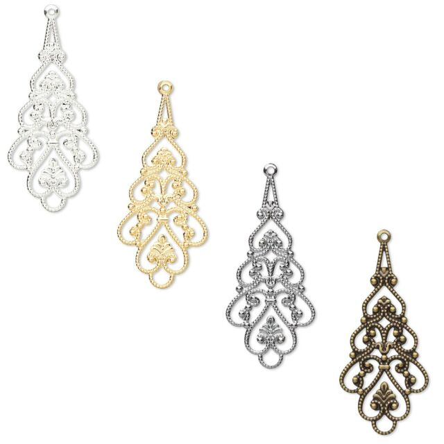 2 Filigree Drop Chandelier Earring & Pendant Finding Charms Plated Brass Metal