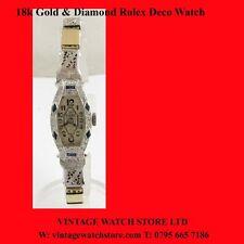 Vintage Rolex  Ladies 18k Gold  Diamond Sapphire  Deco Watch 1947