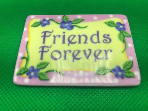 Giftcraft-Ceramic-Friends-Forever-Fridge-Magnet-Pink-Polka-Dots-Purple-Flower-3