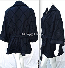 CHANEL 15A QUILTED BLACK COTTON BLEND METALLIC FRINGED KIMONO COAT ROBE-M, L