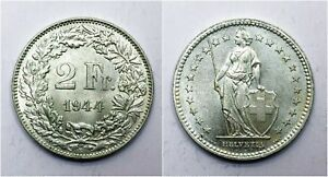 1944-Switzerland-2-Two-Francs-aUNC-83-5-Silver-Lot-104