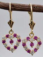 JM07 14K Solid Yellow Gold 10mm Heart PinkWhite Cubic Zirconia(CZ) Drop Earrings