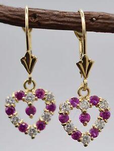 JM07-14K-Solid-Yellow-Gold-10mm-Heart-PinkWhite-Cubic-Zirconia-CZ-Drop-Earrings