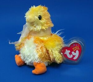 TY Beanie Baby - CHICKIE the Chick MWMT's & Heart Tag Protector Plush Doll