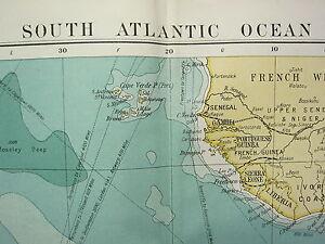 1919 LARGE MAP SOUTH ATLANTIC OCEAN SOUTH AMERICA AFRICA