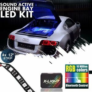 Details About Bluetooth Control Led Engine Bay Rgb Strip Neon Glow Underglow Accent Light Kit