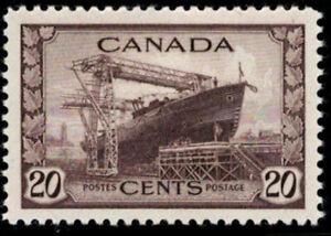 Canada Stamp #260 - Corvette (1942) 20¢ MH